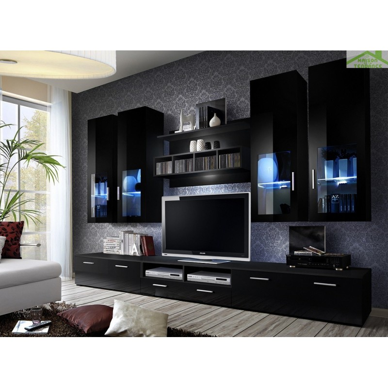 ensemble meuble tv lyra night avec led. Black Bedroom Furniture Sets. Home Design Ideas