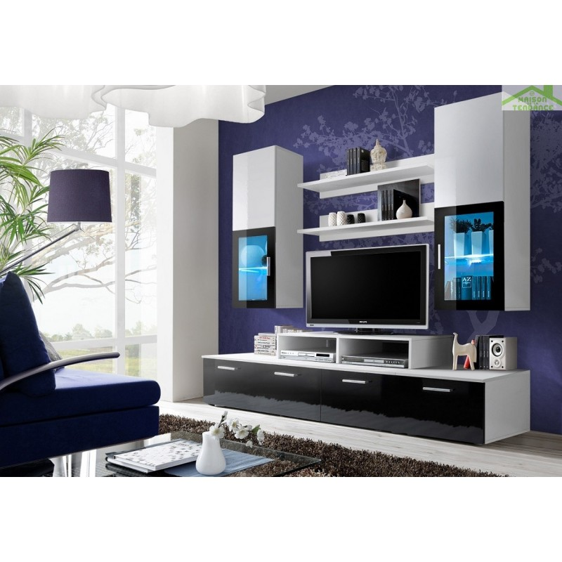 Ensemble meuble tv eclipse noir et prune de haute brillance for Mini meuble tv