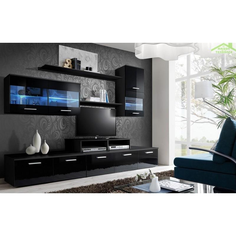 ensemble meuble tv loga avec led. Black Bedroom Furniture Sets. Home Design Ideas