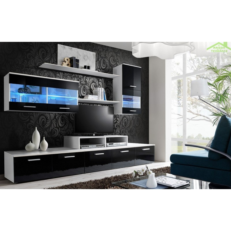 ensemble meuble tv loga avec led. Black Bedroom Furniture Sets. Home Design Ideas