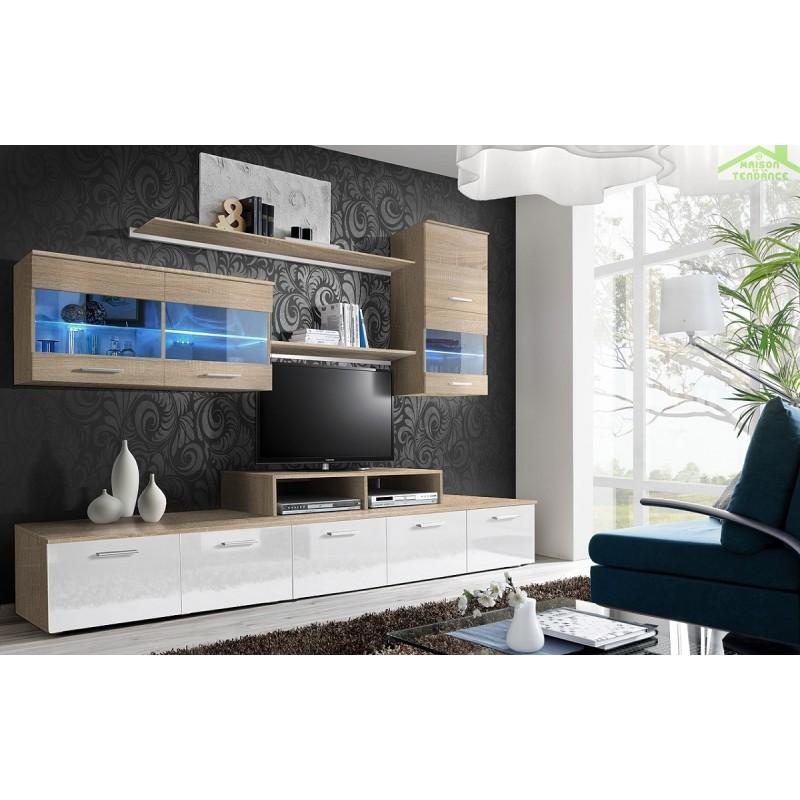 Ensemble meuble tv loga avec led - Meuble tv avec led ...