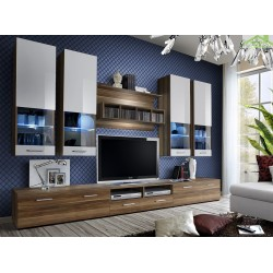 Ensemble meuble TV MALOU marron et blanc de haute brillance