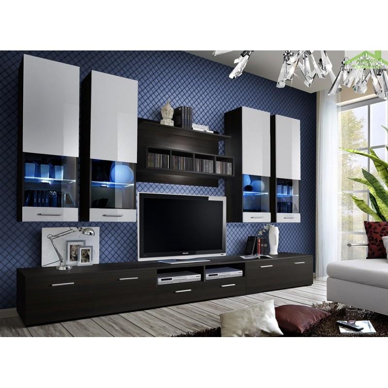 Ensemble meuble tv dorade avec led maison de la tendance for Meuble tv avec led
