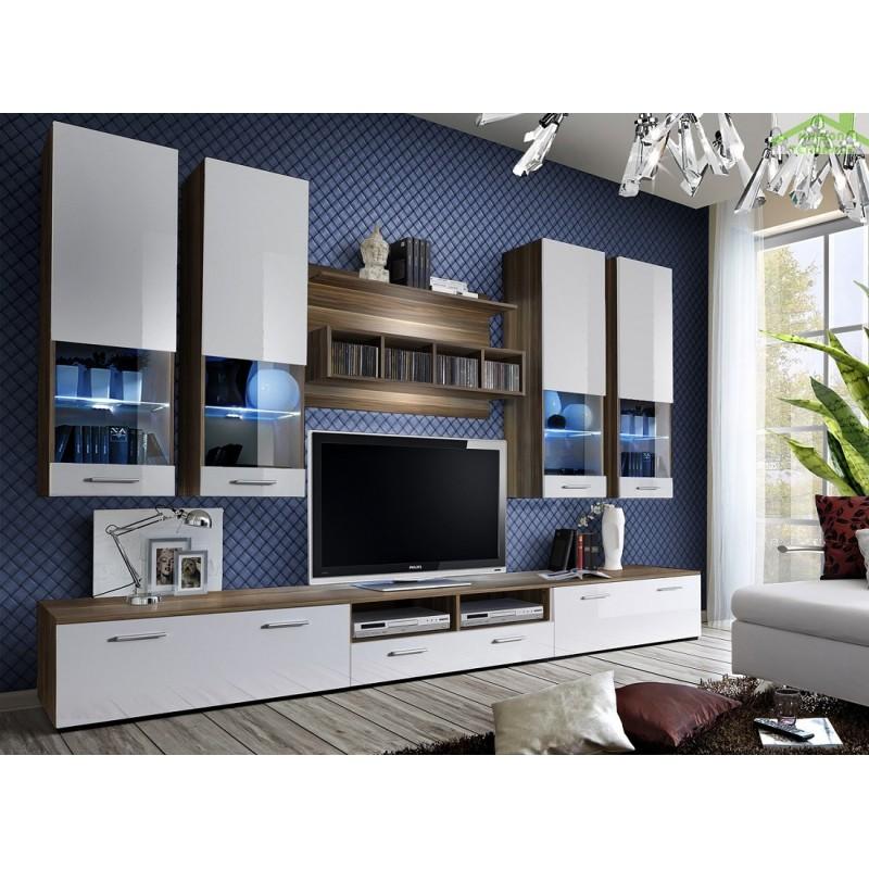Ensemble meuble tv dorade avec led maison de la tendance - Meuble tv avec led ...