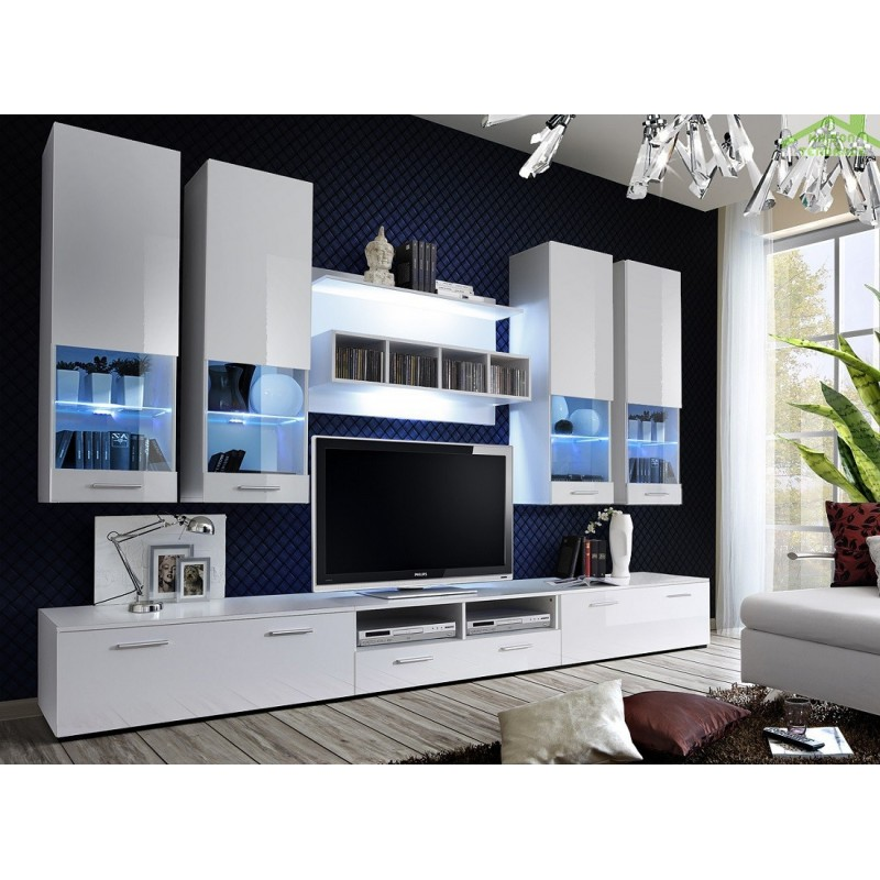 ensemble meuble tv dorade avec led maison de la tendance. Black Bedroom Furniture Sets. Home Design Ideas