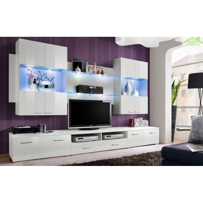 Ensemble meuble tv mural space avec led for Ensemble meuble tv led