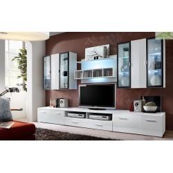 Ensemble meuble TV  KRONE IV noir et blanc de haute brillance avec LED