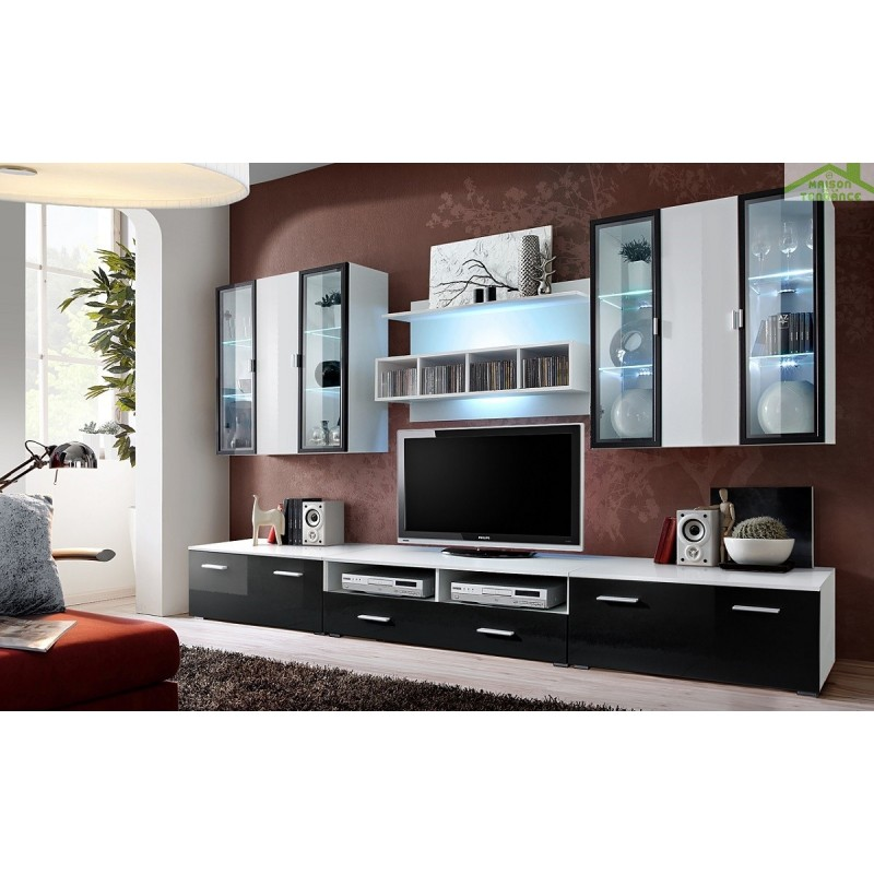 Ensemble meuble tv mural quadro avec led for Ensemble meuble tv led