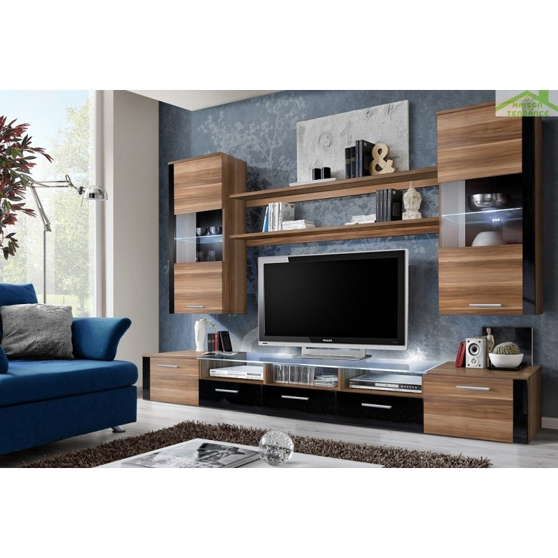ensemble meuble tv mural fresh avec led. Black Bedroom Furniture Sets. Home Design Ideas