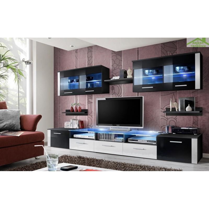 Ensemble meuble tv mural zoom avec led for Ensemble meuble tv