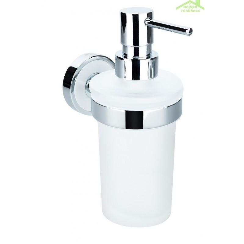 Distributeur de savon liquide en verre trend avec support for Distributeur de savon liquide mural