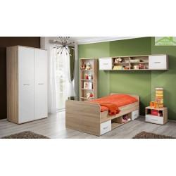 Chambre à coucher complète  pour enfant 5 pièces en chêne sonoma et fronts blancs mats