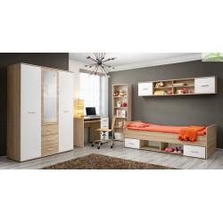 Chambre à coucher complète  pour enfant 4 pièces en chêne sonoma et fronts blancs mats