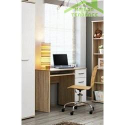 Bureau pour chambre enfant 104x76x50 cm en chêne sonoma et fronts blancs mats
