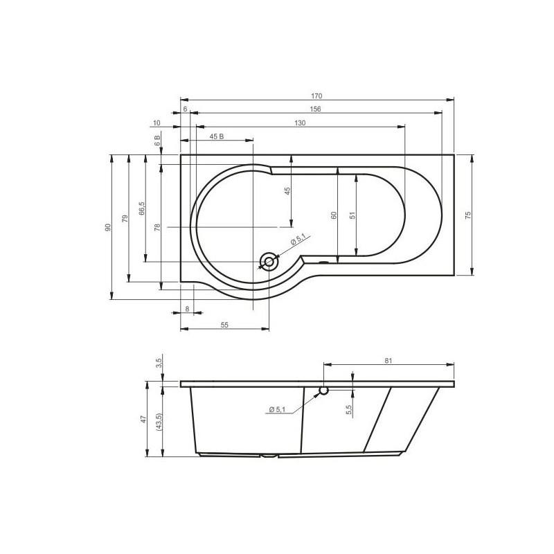 baignoire d 39 angle acrylique dorado riho 170x75 90 cm maison de la tendance. Black Bedroom Furniture Sets. Home Design Ideas
