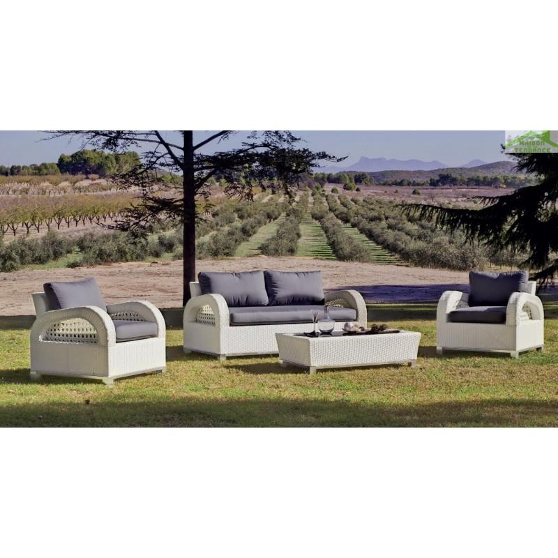 Salon de jardin avec table basse + canapé 2 places + 2 fauteuils ...