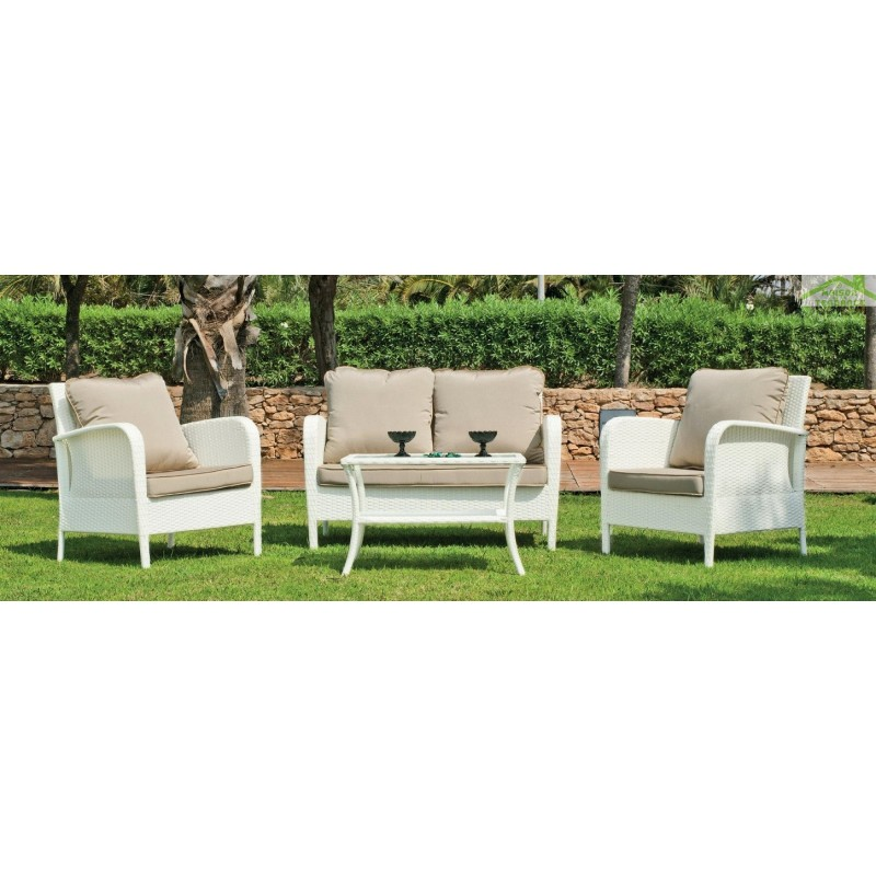 salon de jardin avec table basse canap 2 places 2 fauteuils anabel hevea. Black Bedroom Furniture Sets. Home Design Ideas