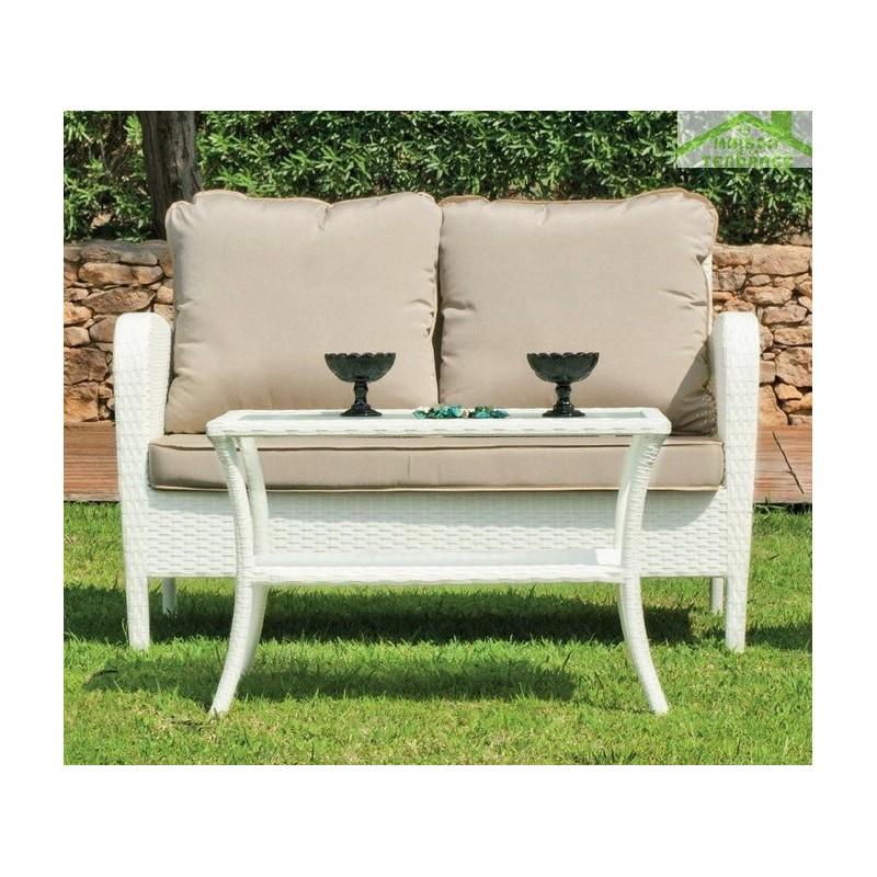 salon de jardin avec table basse canap 2 places 2 fauteuils anabel hevea. Black Bedroom Furniture Sets. Home Design Ideas