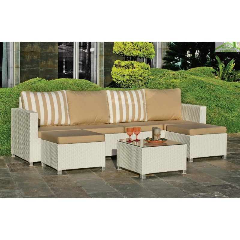 salon de jardin avec table basse 4 fauteuils 2 repose pieds jamaica hevea. Black Bedroom Furniture Sets. Home Design Ideas