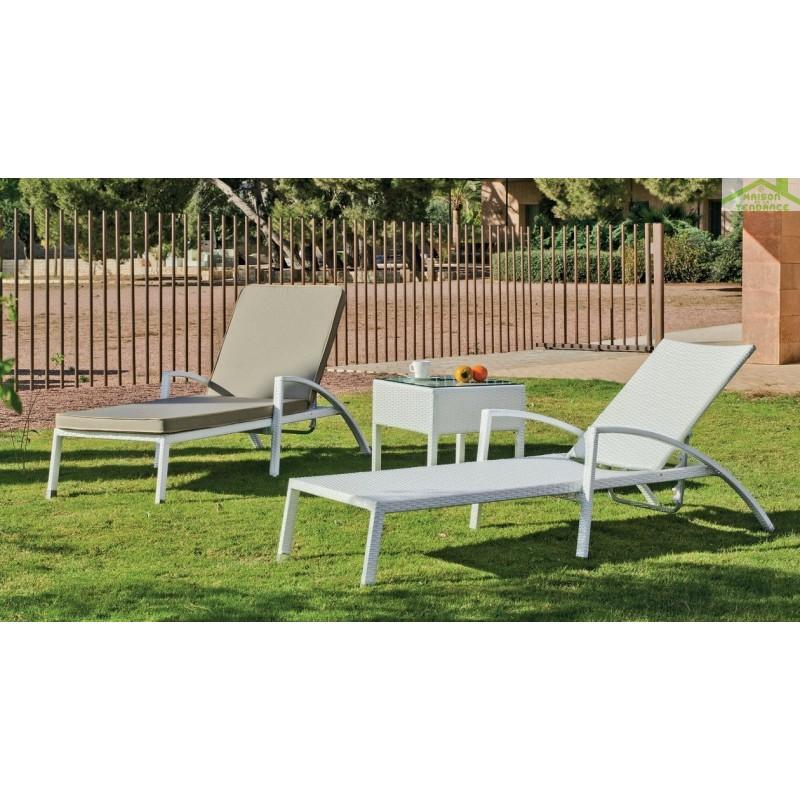 Fauteuil bain de soleil de jardin avec coussin niza hevea for Jardin soleil