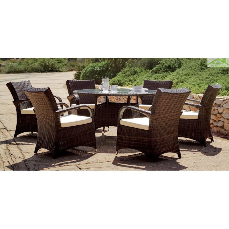 Salon de jardin table ronde set oregon hevea 6 places for Table ronde 6 places