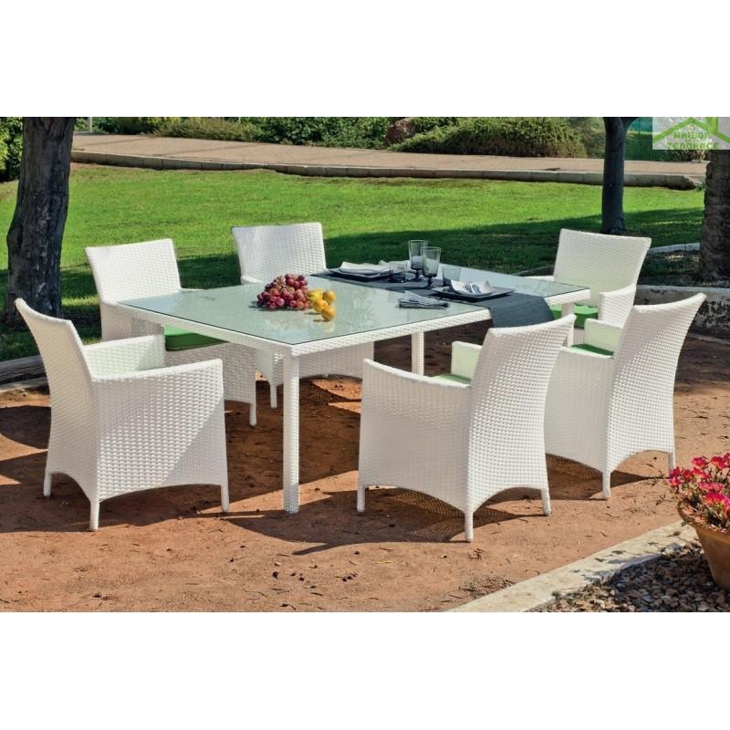 Ensemble de table de jardin 180x90 cm 6 fauteuils sandra for Ensemble table fauteuil jardin