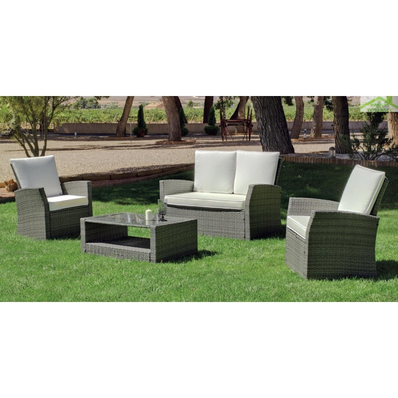 salon de jardin avec table basse 95x55 cm canap 2 places 2 fauteuils avec coussin verona hevea. Black Bedroom Furniture Sets. Home Design Ideas