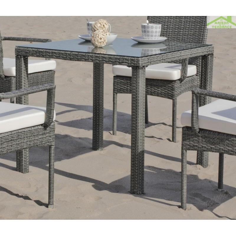 Table de jardin 80x80 cm mali hevea for Table exterieur 80x80