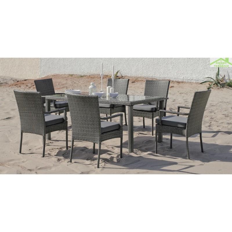 Ensemble table de jardin 150x90 cm 6 fauteuils avec for Ensemble table fauteuil jardin