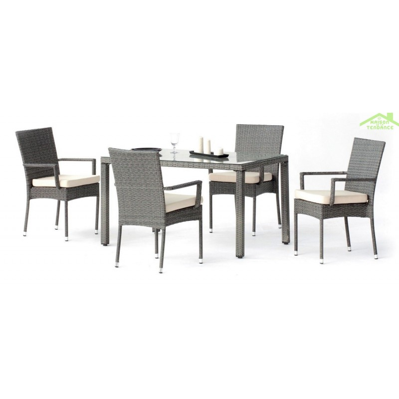 ensemble table de jardin 130x80 cm 4 fauteuils avec coussins mali hevea. Black Bedroom Furniture Sets. Home Design Ideas