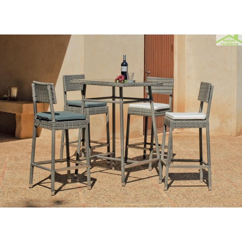 Table Haute De Jardin Carr E 75x75 Cm 4 Tabourets Hauts Avec Coussins Almara Hevea