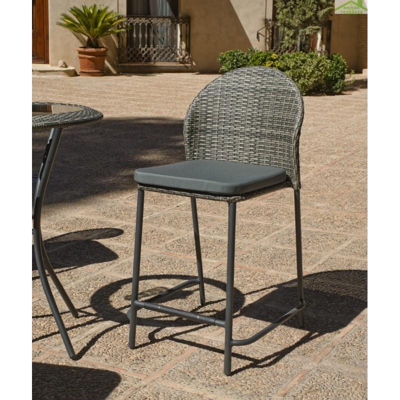 ensemble de table haute de jardin 75x75 cm 4 tabourets hauts avec coussins antea hevea. Black Bedroom Furniture Sets. Home Design Ideas