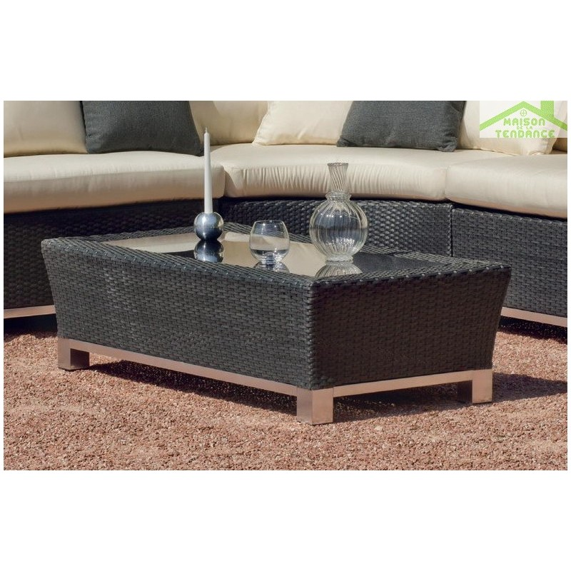 Salon de jardin avec table basse 100x60 cm canape d for Tapis de gym avec canape vega