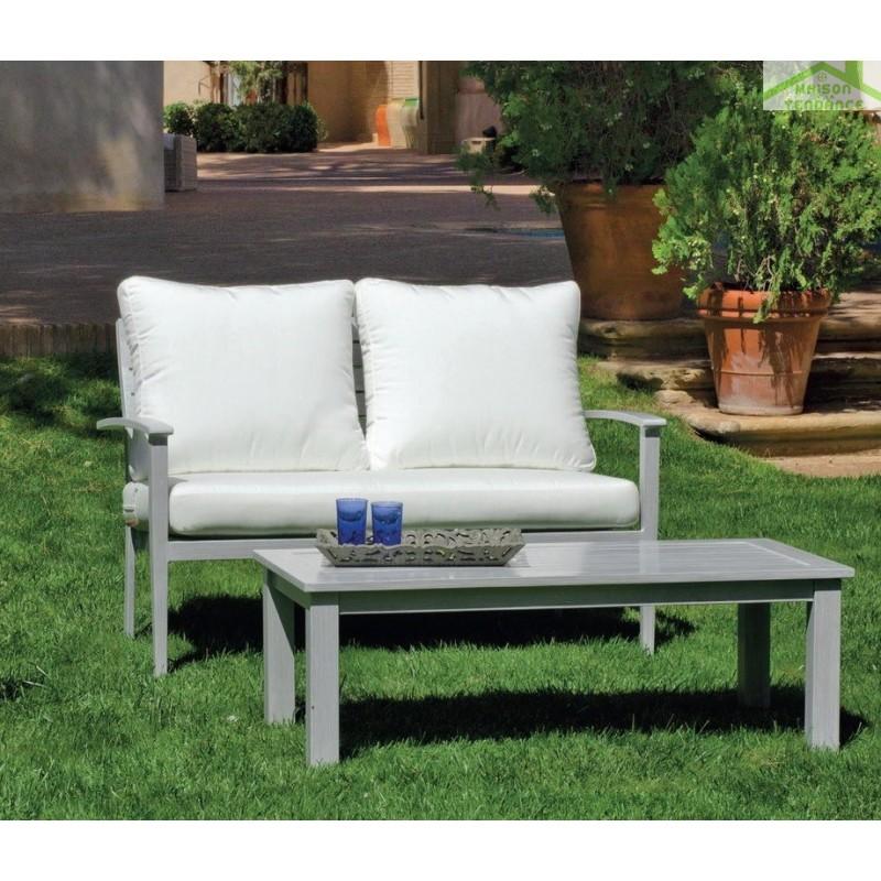 Salon de jardin avec table basse 120x60 cm +1 canapé + 2 fauteuils ...
