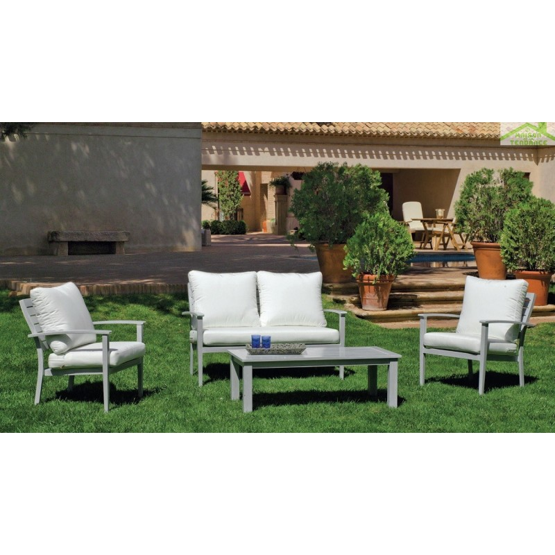 Salon de jardin avec table basse 120x60 cm 1 canape 2 for Tapis de gym avec canape vega