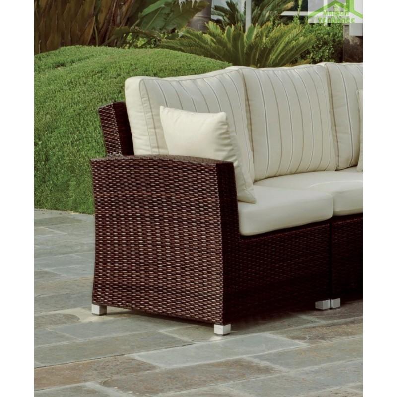 salon de jardin avec table basse 60x60 cm 1 canap d angle 8 places arizona hevea. Black Bedroom Furniture Sets. Home Design Ideas