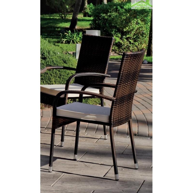 ensemble table de jardin ronde 120 cm 6 fauteuils avec coussins tatiana bergamo hevea. Black Bedroom Furniture Sets. Home Design Ideas