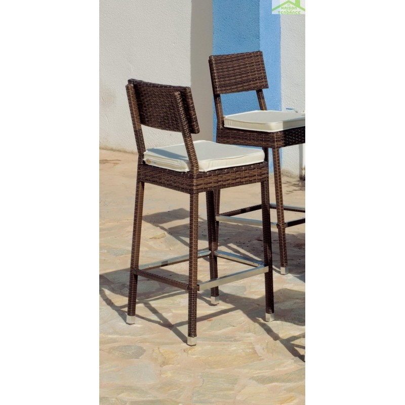 Bar de jardin avec table de bar 140x50 cm 3 tabourets de bar avec coussins maritim hevea - Table avec tabouret de bar ...