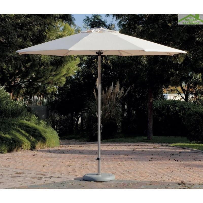 Parasol d port rond 3 m babylon hevea en toile cru - Toile de parasol deporte ...