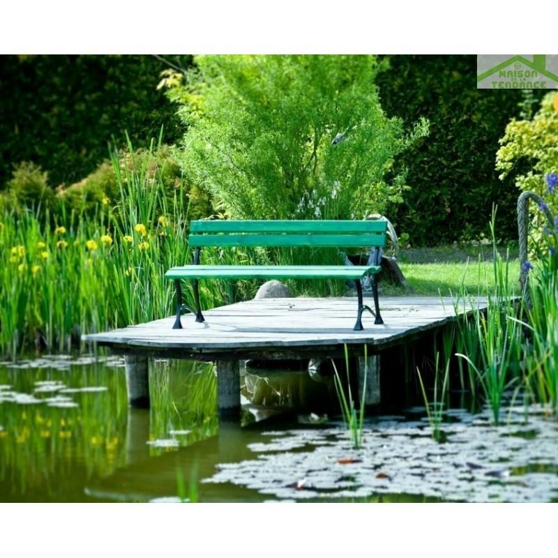 Banc de jardin vert en bois et aluminium 150cm - Maison de la tendance