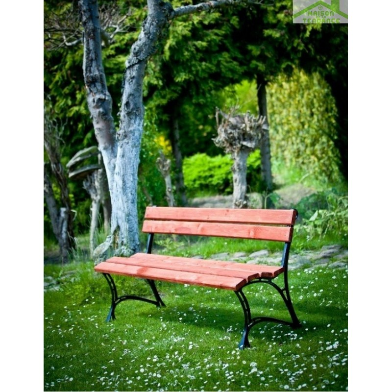 banc de jardin en bois couleur acajou et aluminium 150cm maison de la tendance. Black Bedroom Furniture Sets. Home Design Ideas