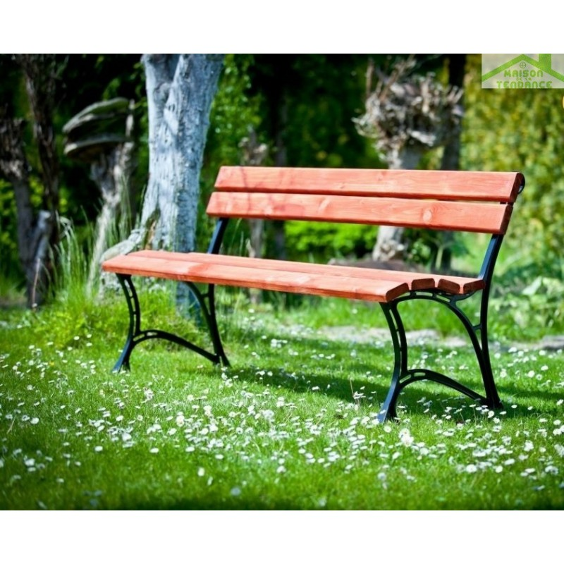 banc de jardin en bois couleur acajou et aluminium 150cm. Black Bedroom Furniture Sets. Home Design Ideas