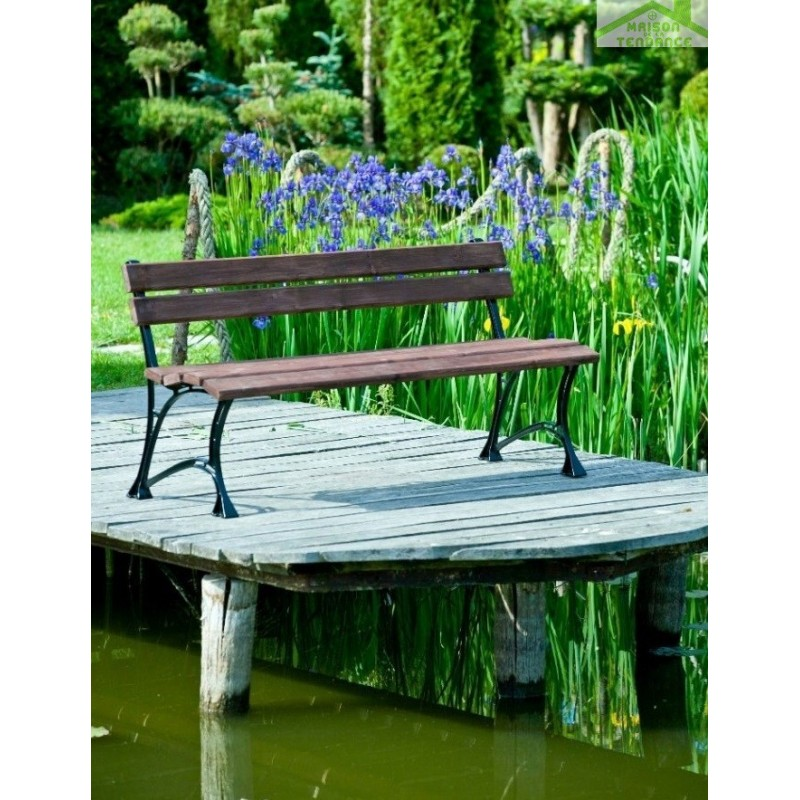 banc de jardin en bois couleur noyer et aluminium 150cm. Black Bedroom Furniture Sets. Home Design Ideas
