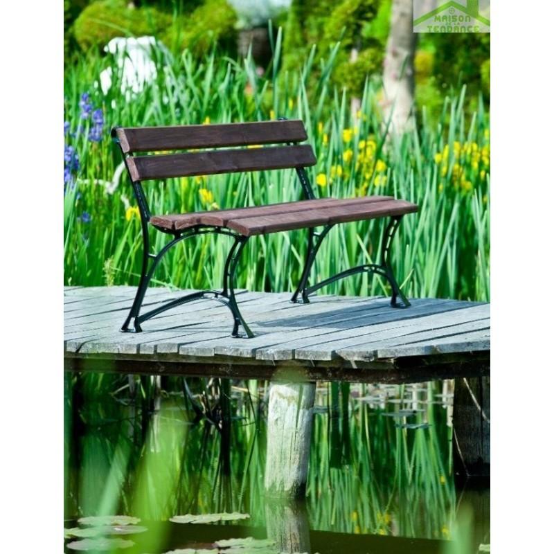 Banc de jardin en bois couleur noyer et aluminium 150cm for Banc de jardin en bois