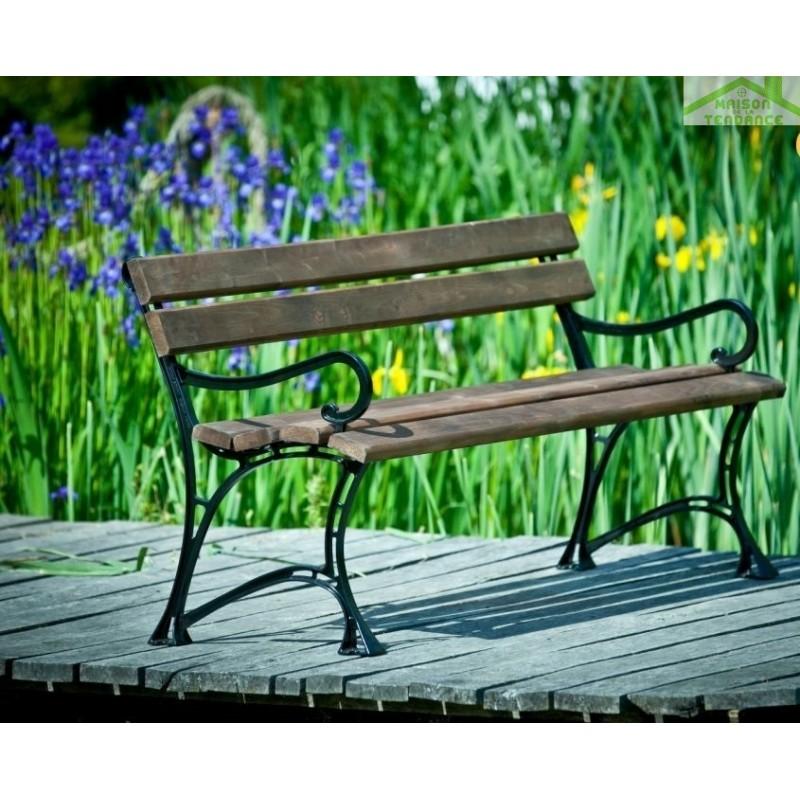 Banc De Jardin En Bois Couleur Palissandre Et Aluminium