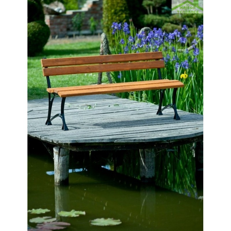 banc de jardin en bois couleur teck et aluminium 150cm. Black Bedroom Furniture Sets. Home Design Ideas