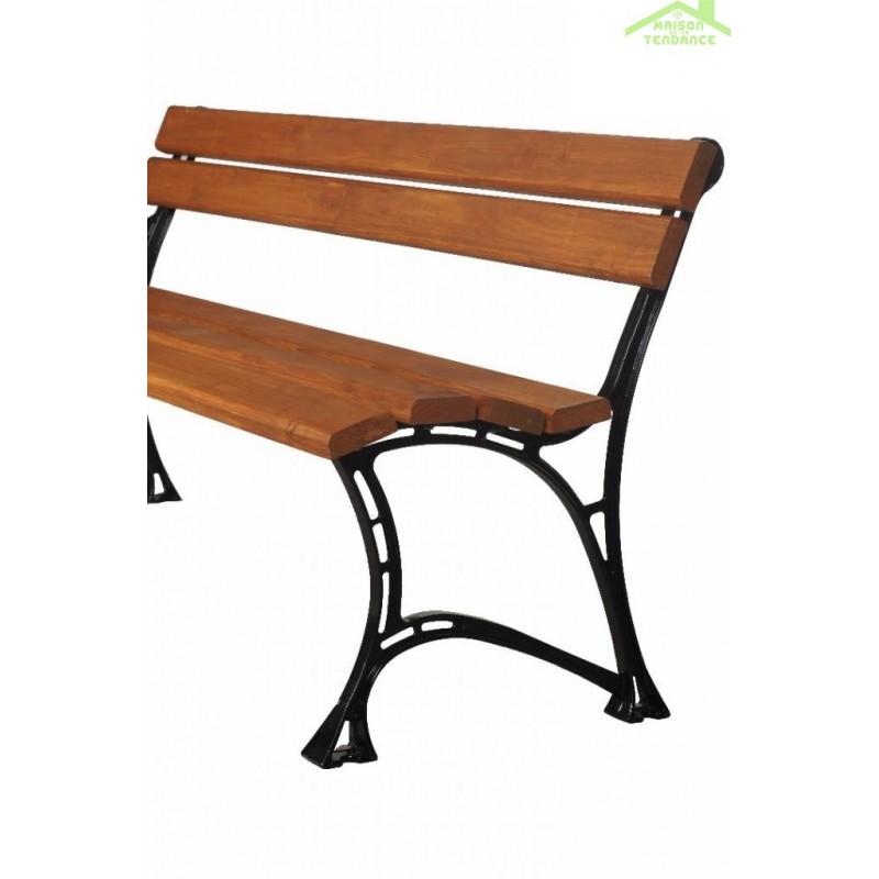 Banc de jardin en bois couleur teck et aluminium 150cm - Maison de ...