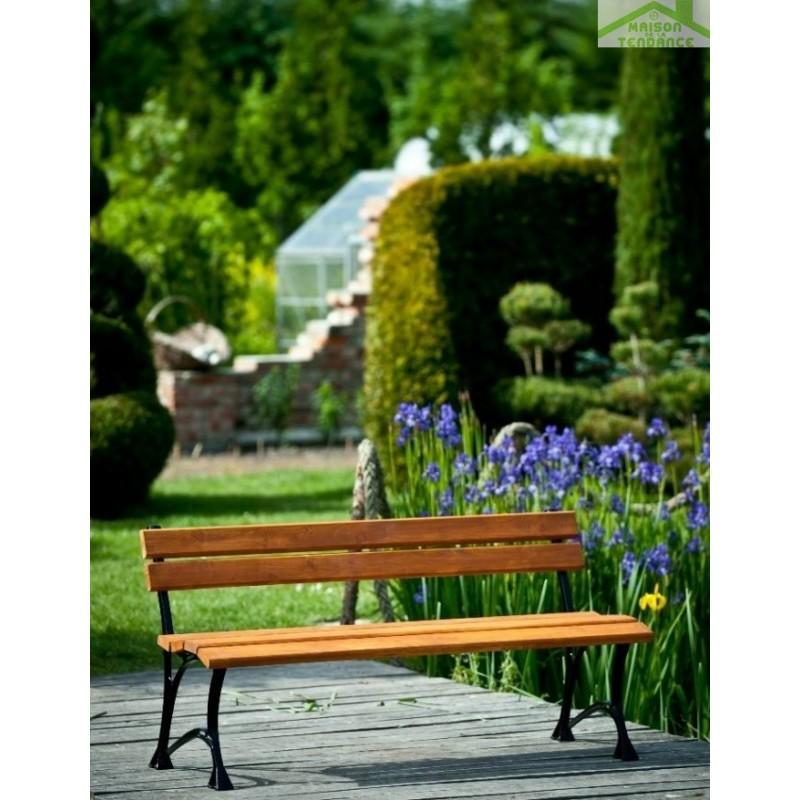 banc de jardin en bois couleur teck et aluminium 150cm maison de la tendance. Black Bedroom Furniture Sets. Home Design Ideas