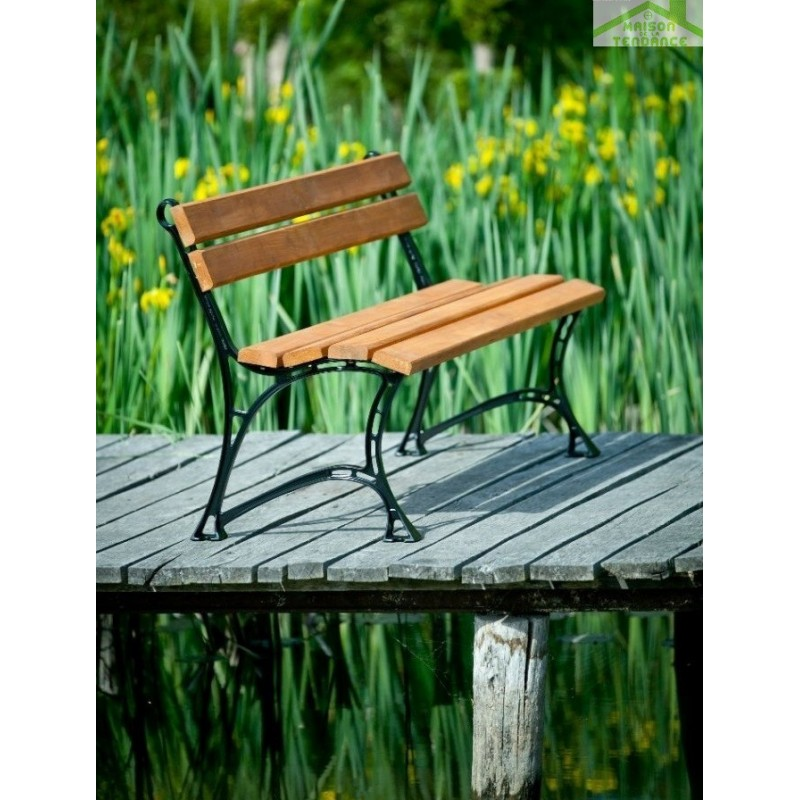 banc de jardin en bois couleur teck et aluminium 150cm maison de la tendance. Black Bedroom Furniture Sets. Home Design Ideas