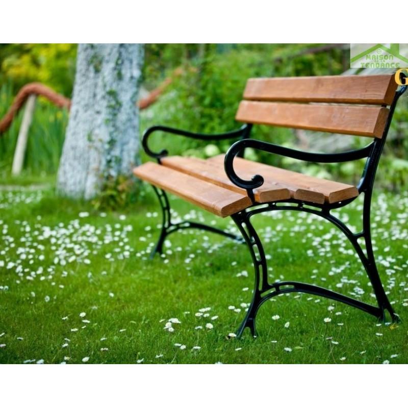 Banc de jardin en bois couleur teck et aluminium 150cm ...